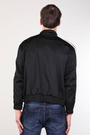 Siyah Fermuarlı Şeritli Erkek Koşucu Sweatshirt - Thumbnail