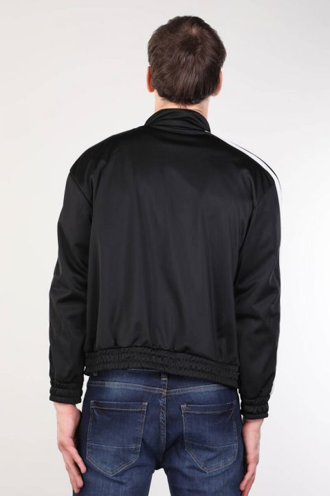 Siyah Fermuarlı Şeritli Erkek Koşucu Sweatshirt