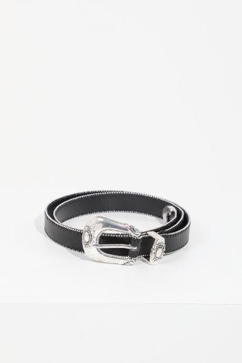 MARKAPIA - Женский черный кожаный ремень с мелкими камнями (1)