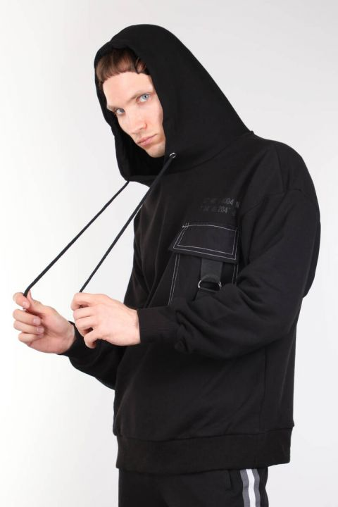 Siyah Kapüşonlu Cepli Oversize Erkek Sweatshirt