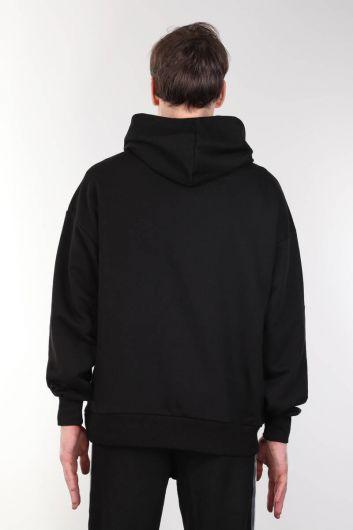 Siyah Kapüşonlu Cepli Oversize Erkek Sweatshirt - Thumbnail