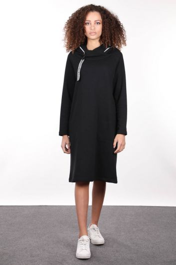 Siyah Kapüşonlu Fermuar Detaylı Uzun Sweat Elbise - Thumbnail