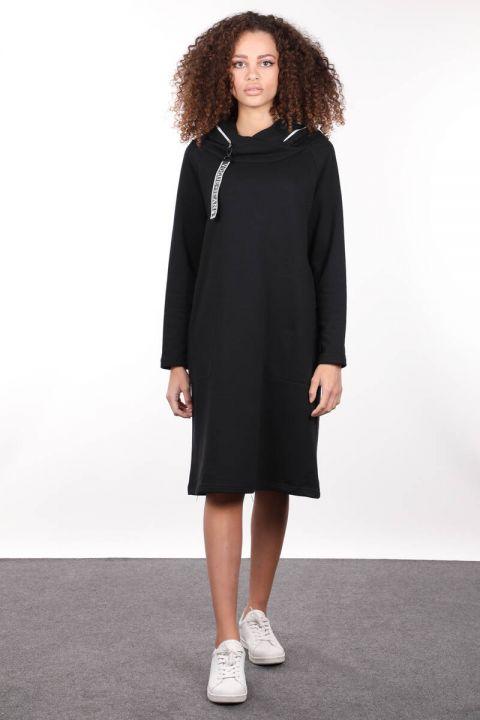 Siyah Kapüşonlu Fermuar Detaylı Uzun Sweat Elbise