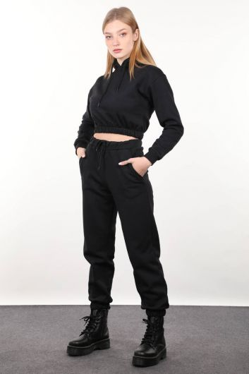 MARKAPIA WOMAN - Черный женский спортивный костюм с капюшоном (1)