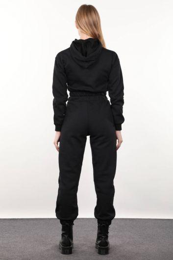 Siyah Kapüşonlu Kadın Eşofman Takımı - Thumbnail