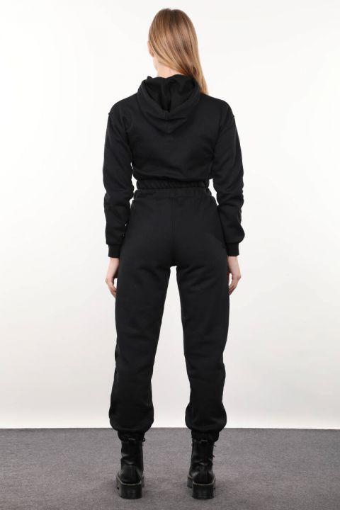 Siyah Kapüşonlu Kadın Eşofman Takımı