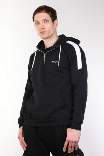 Siyah Kapüşonlu Şardonlu Koşucu Erkek Sweatshirt - Thumbnail