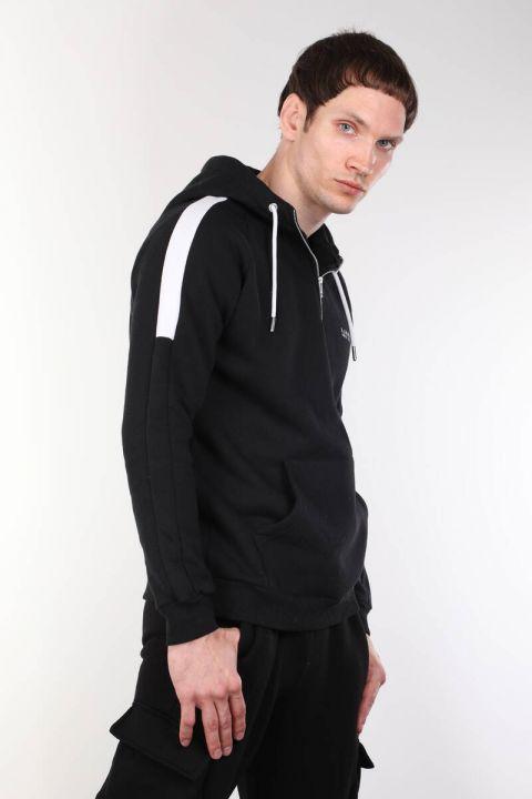 Siyah Kapüşonlu Şardonlu Koşucu Erkek Sweatshirt