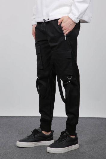 MARKAPIA - بدلة رياضية سوداء بجيب كارجو للرجال (1)