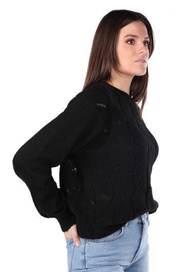 MARKAPIA WOMAN - Черный вязаный женский трикотажный свитер (1)