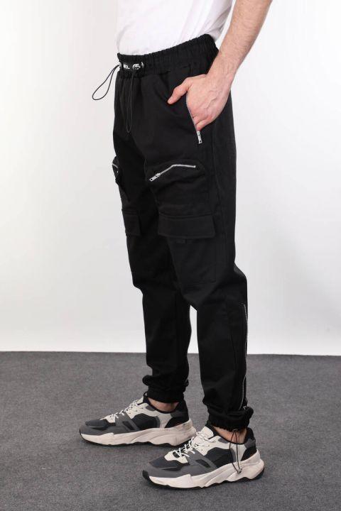 Siyah Paçası Fermuar Detaylı Erkek Eşofman Altı