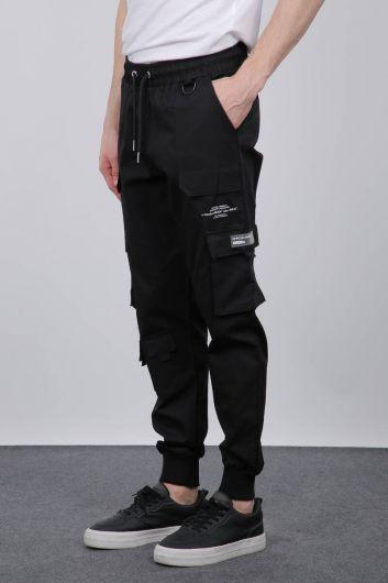 MARKAPIA - بدلة رياضية سوداء للرجال بجيب مضلع (1)