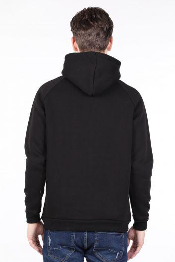 Siyah Şardonlu Kapüşonlu Erkek Sweatshirt - Thumbnail