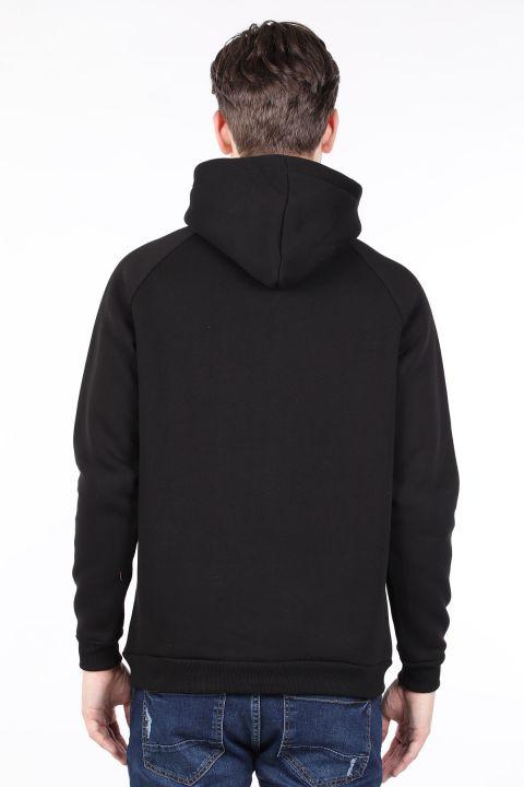 Siyah Şardonlu Kapüşonlu Erkek Sweatshirt