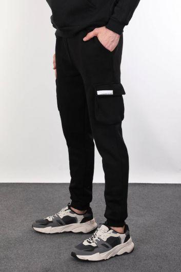 MARKAPIA - Siyah Şardonlu Yan Cepli Erkek Eşofman Altı (1)