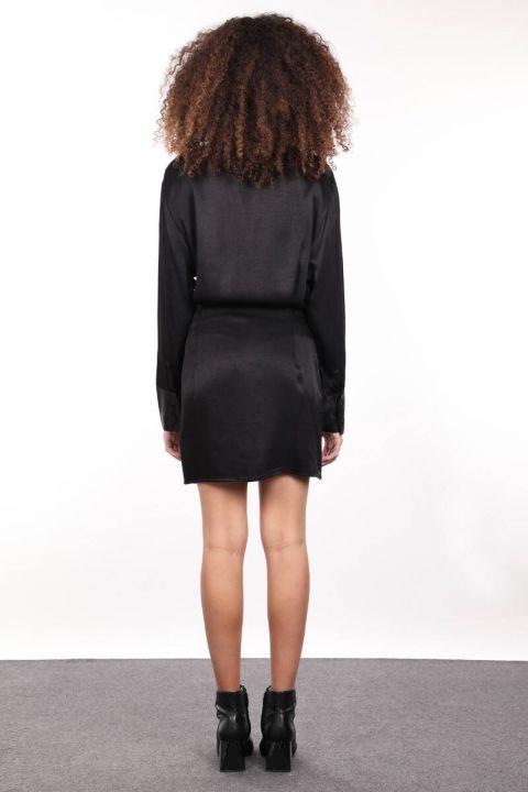 Siyah Saten Kadın Gömlek Elbise