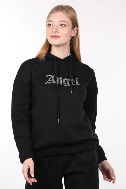 Siyah Taş İşlemeli Şardonlu Kapüşonlu Kadın Sweatshirt