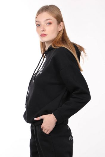 MARKAPIA WOMAN - Black Stone Embroidered Hooded Women's Sweatshirt (1)