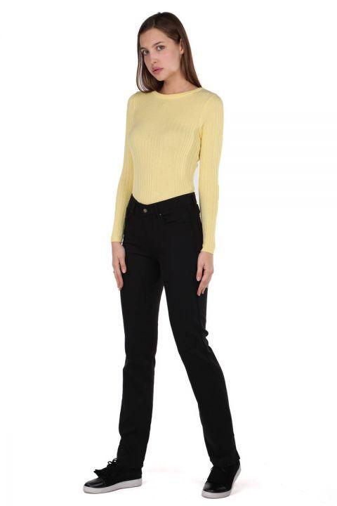Siyah Uzun Paça Regular Fit Kadın Pantolon