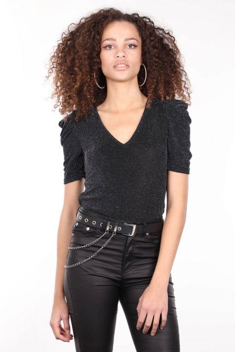 Siyah V Yaka Simli Kadın Bluz