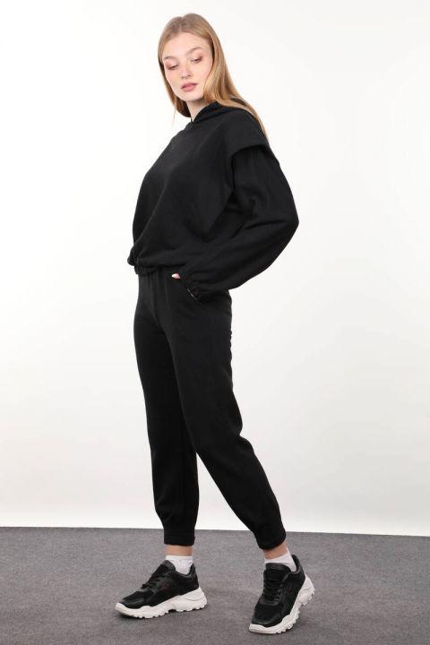 Siyah Vatkalı Kapüşonlu Kadın Eşofman Takımı