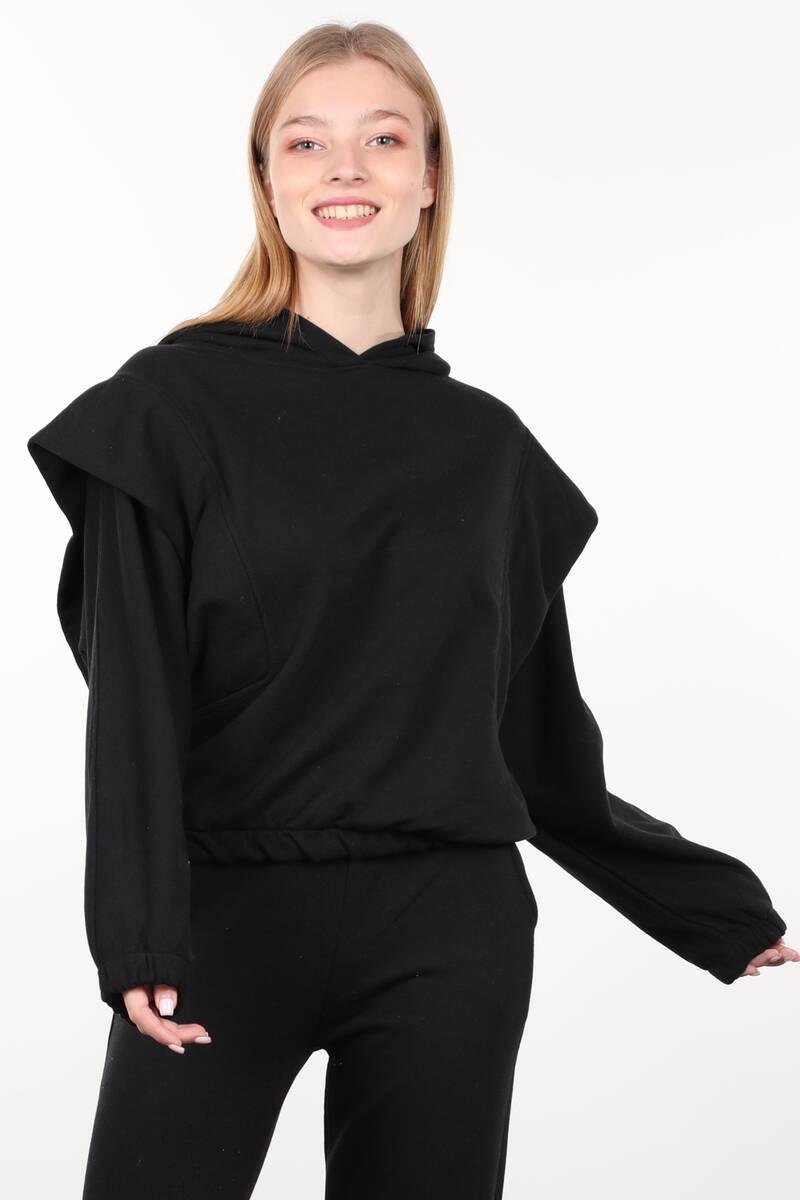 Siyah Vatkalı Kapüşonlu Kadın Sweatshirt