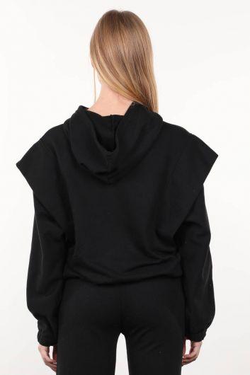 Siyah Vatkalı Kapüşonlu Kadın Sweatshirt - Thumbnail