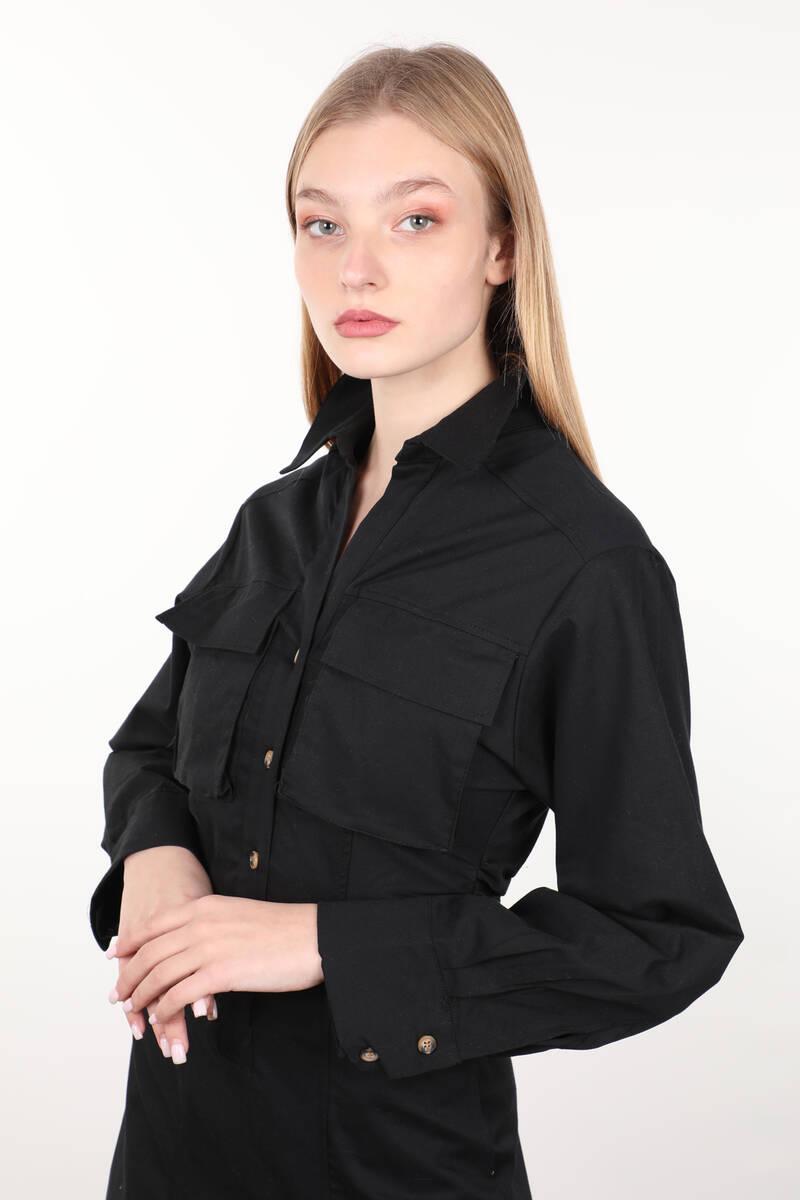 Siyah Yandan Büzgülü Cepli Kadın Elbise