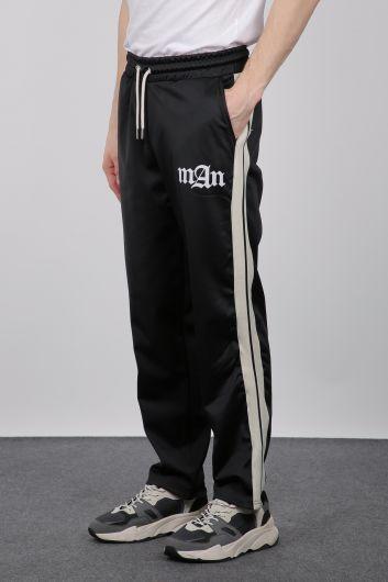 MARKAPIA - Черные мужские спортивные штаны с полосками по бокам (1)