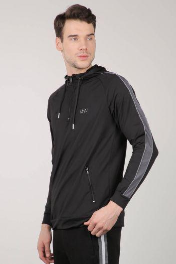 MARKAPIA - Black Hooded Sports Men's Sweatshirt (1)