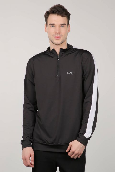 Siyah Yarım Fermuarlı Sporcu Erkek Sweatshirt