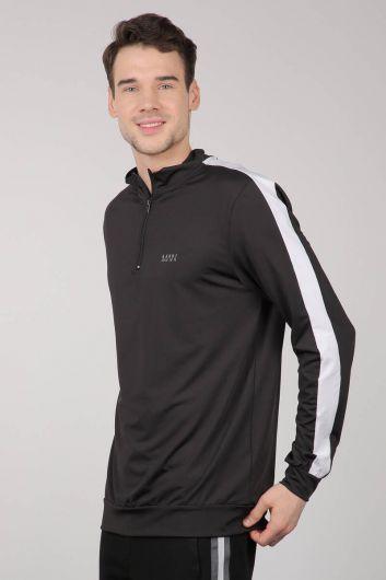 MARKAPIA - Siyah Yarım Fermuarlı Sporcu Erkek Sweatshirt (1)
