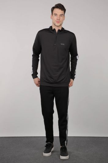 Siyah Yarım Fermuarlı Sporcu Erkek Sweatshirt - Thumbnail
