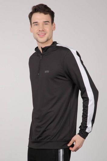 MARKAPIA - Black Half Zipper Sports Men's Sweatshirt (1)
