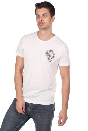 Skull Patterned Men's Crew Neck T-Shirt - Thumbnail