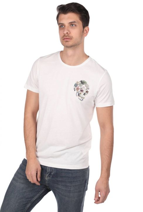 Skull Patterned Men's Crew Neck T-Shirt