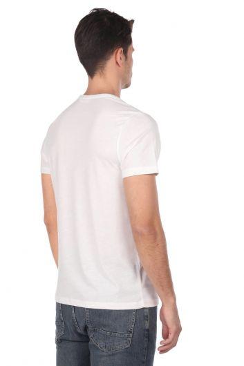 Skull Patterned Men's Crew Neck T-Shirt - Thumbnail