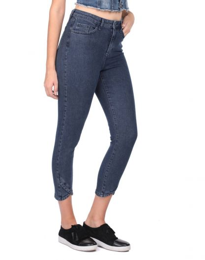 BLUE WHITE - بنطلون جينز نسائي ضيق بأرجل (1)
