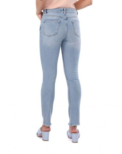 Skinny Kadın Açık Jean Pantolon - Thumbnail