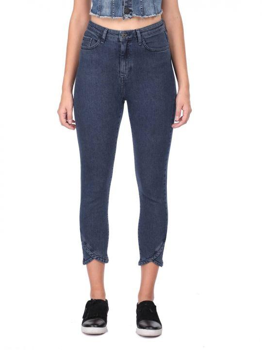 Women's Skinny Leg Detailed Jean Trousers