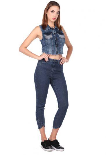 Women's Skinny Leg Detailed Jean Trousers - Thumbnail