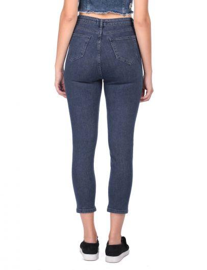 Женские узкие джинсовые брюки с детализированными штанинами - Thumbnail
