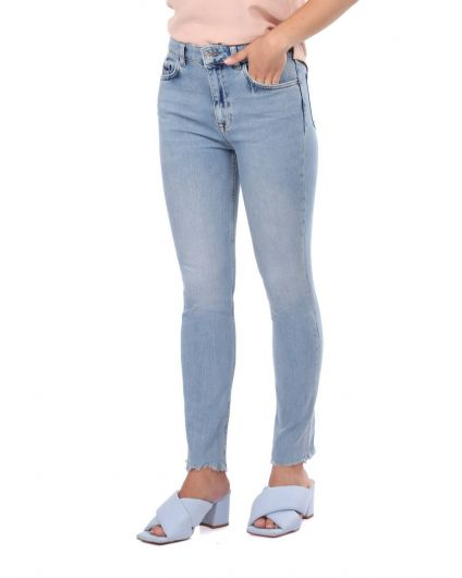 BLUE WHITE - Skinny Women's Open Jean Trousers (1)