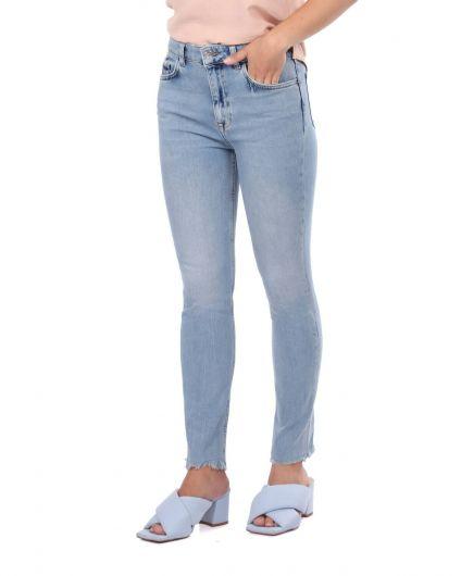 BLUE WHITE - Женские открытые джинсовые брюки скинни (1)