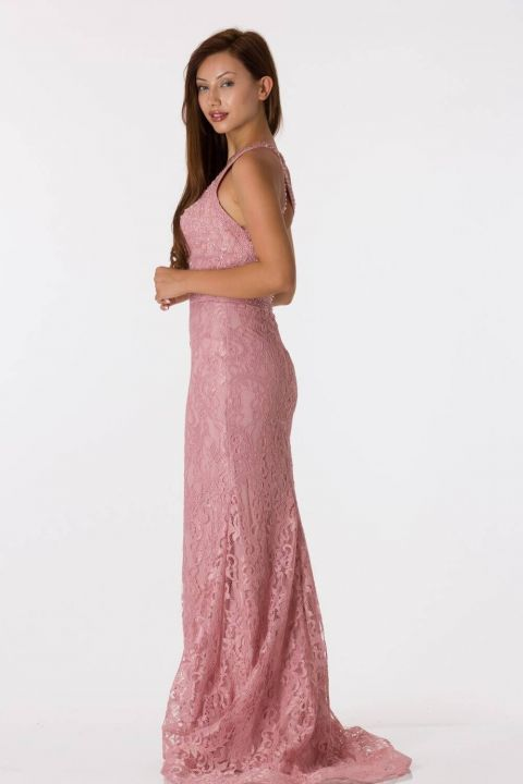 Back Detailed Lace Pink Fish Evening Dress