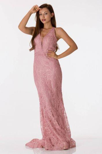 shecca - Розовое кружевное вечернее платье с кружевом на спине (1)