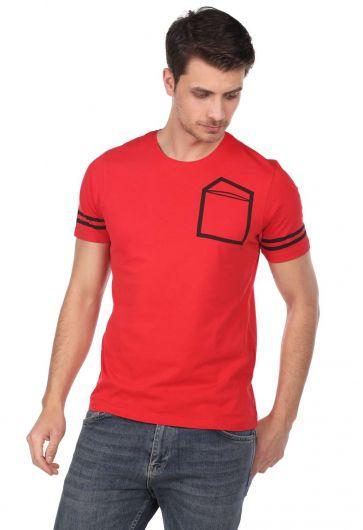 Мужская футболка с круглым вырезом и полосатыми рукавами - Thumbnail
