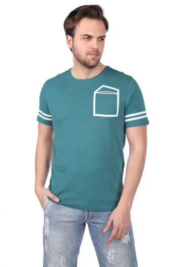 Striped Sleeve Men's Crew Neck T-Shirt - Thumbnail