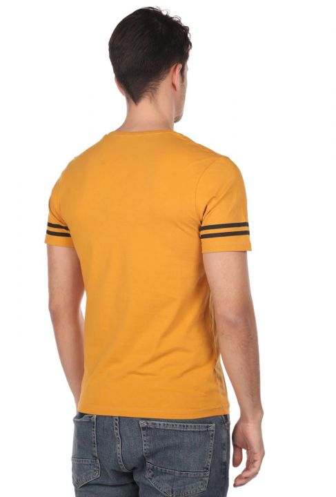 Striped Sleeve Men's Crew Neck T-Shirt