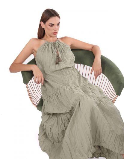 Открытое прямое платье цвета хаки без рукавов - Thumbnail